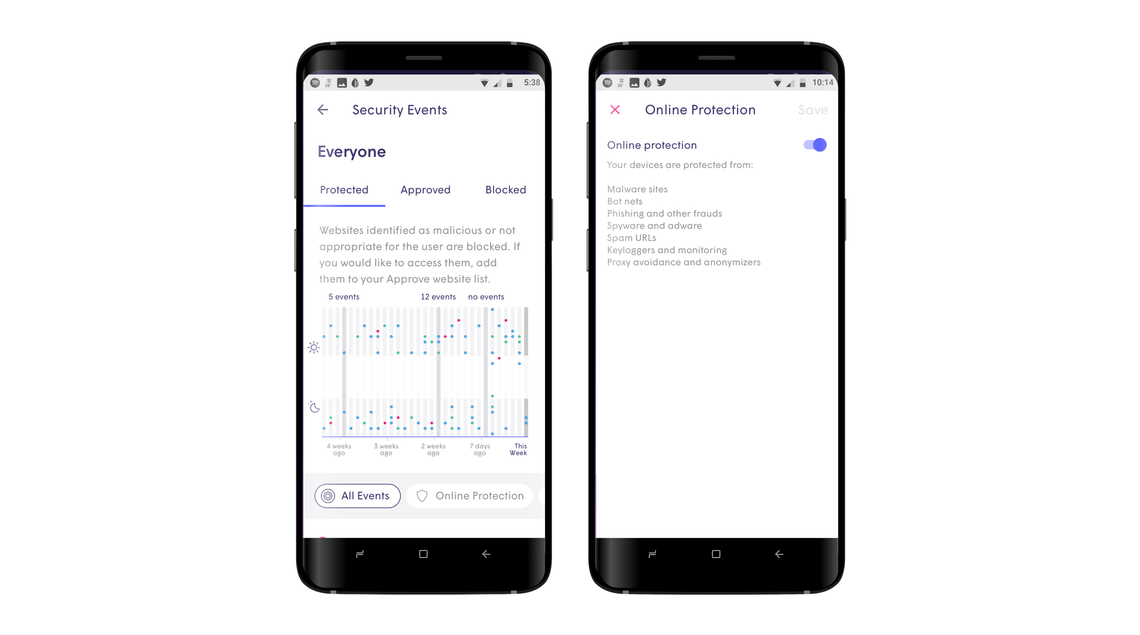 Plume's Advanced IoT Protect. View all security events in the HomePass app.